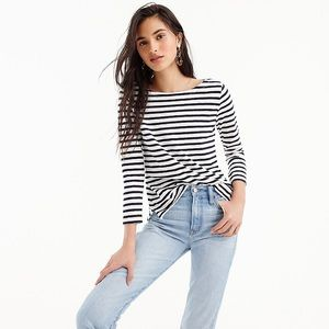 J Crew Navy and Cream Striped Boatneck Tee